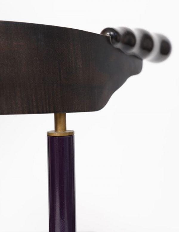 sedia in ottone, legno e ferro